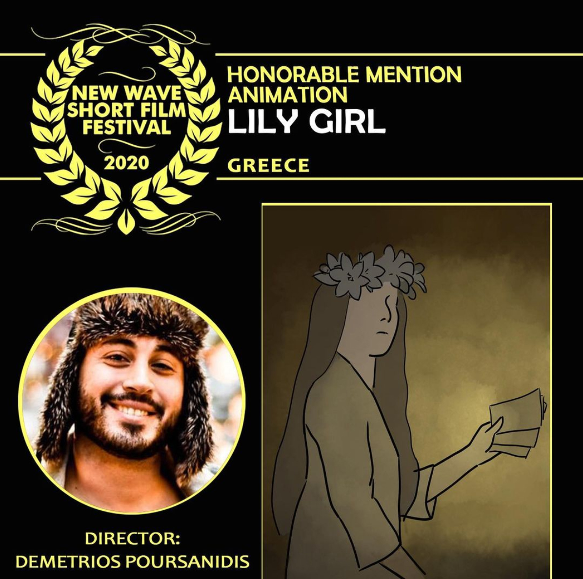 Lily Girl received an Honorable Mention Award in the category of Animated Film at the 2020 New Wave Short Film Festival (Munich, Germany)